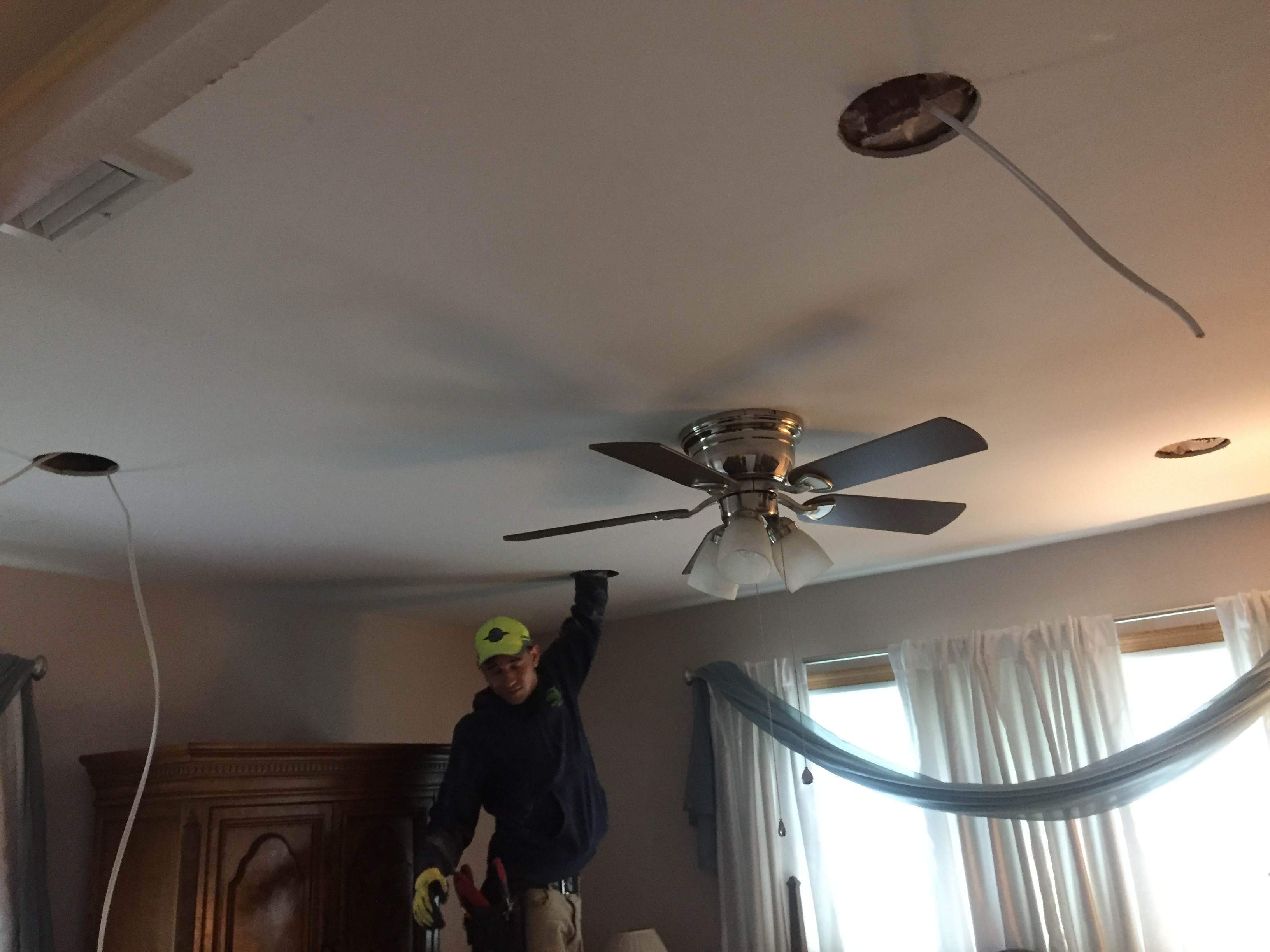 Peter Lombardo Electric, Picture during recessed light installation. Hi hats, recessed lights, master electrician, deer park, long island