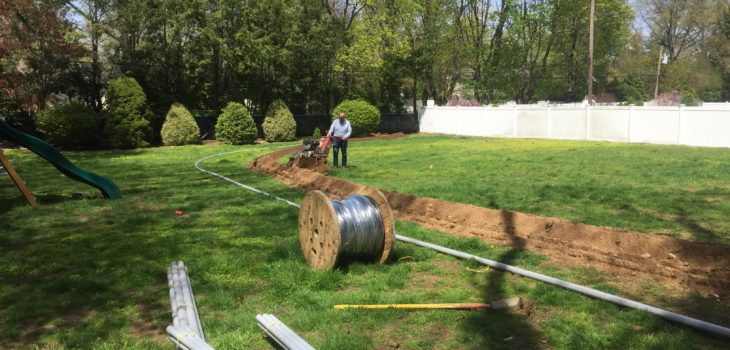 Trenching for an underground service installation in Long Island